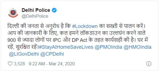 Delhi Police Tweet