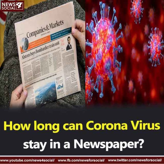 How long can Corona Virus stay in a Newspaper?